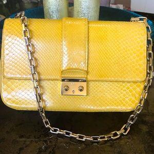 DIOR Yellow python Medium shoulder bag